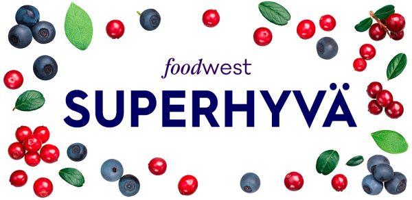 Kuvassa hankkeen nimi Superhyvä ja Foodwest. Valkoisella pohjalla marjoja.